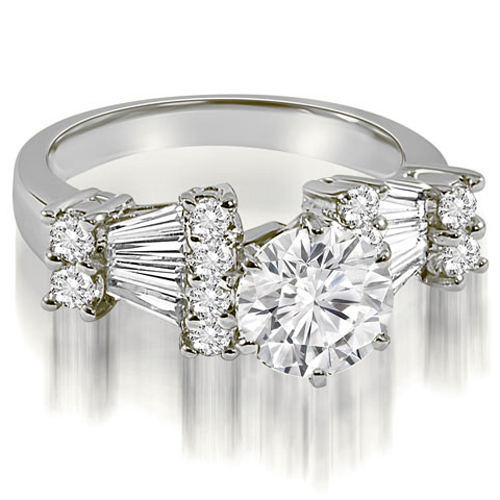 """""""2.70 cttw. 18K White Gold Round and Baguette Diamond Engagement Ring (I1, H-I)"""""""