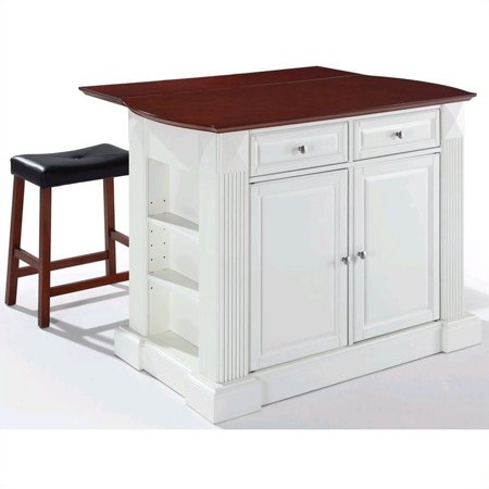 Pemberly Row Drop Leaf Breakfast Bar Kitchen Island With Stools In