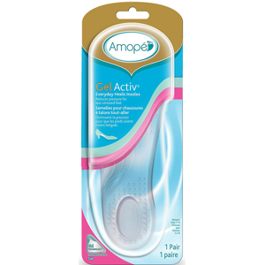 Amope GelActiv Everyday Heels Insoles for Women, 1 pair, Size 5-10