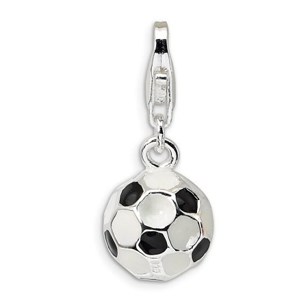 Sterling Silver 3-D Enameled Small Soccer Ball With Lobster Clasp Charm - Measures 22x9mm