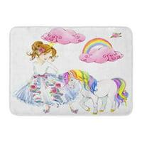 KDAGR Colorful Girl Princess Watercolor Unicorn Pink Cute Pony Dream Doormat Floor Rug Bath Mat 30x18 inch