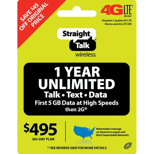 Straight Talk Wireless $495 1-Year Unlimited Plan Prepaid Phone Card