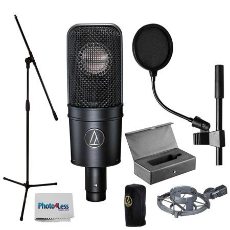 Audio-Technica AT4040 Cardioid Condenser Mic w/ Shock Mount + Stand + Pop Filter ()