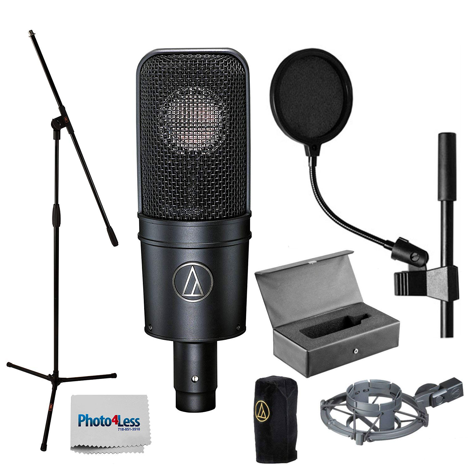 Audio-Technica AT4040 Cardioid Condenser Mic w/ Shock Mount + Stand + Pop Filter