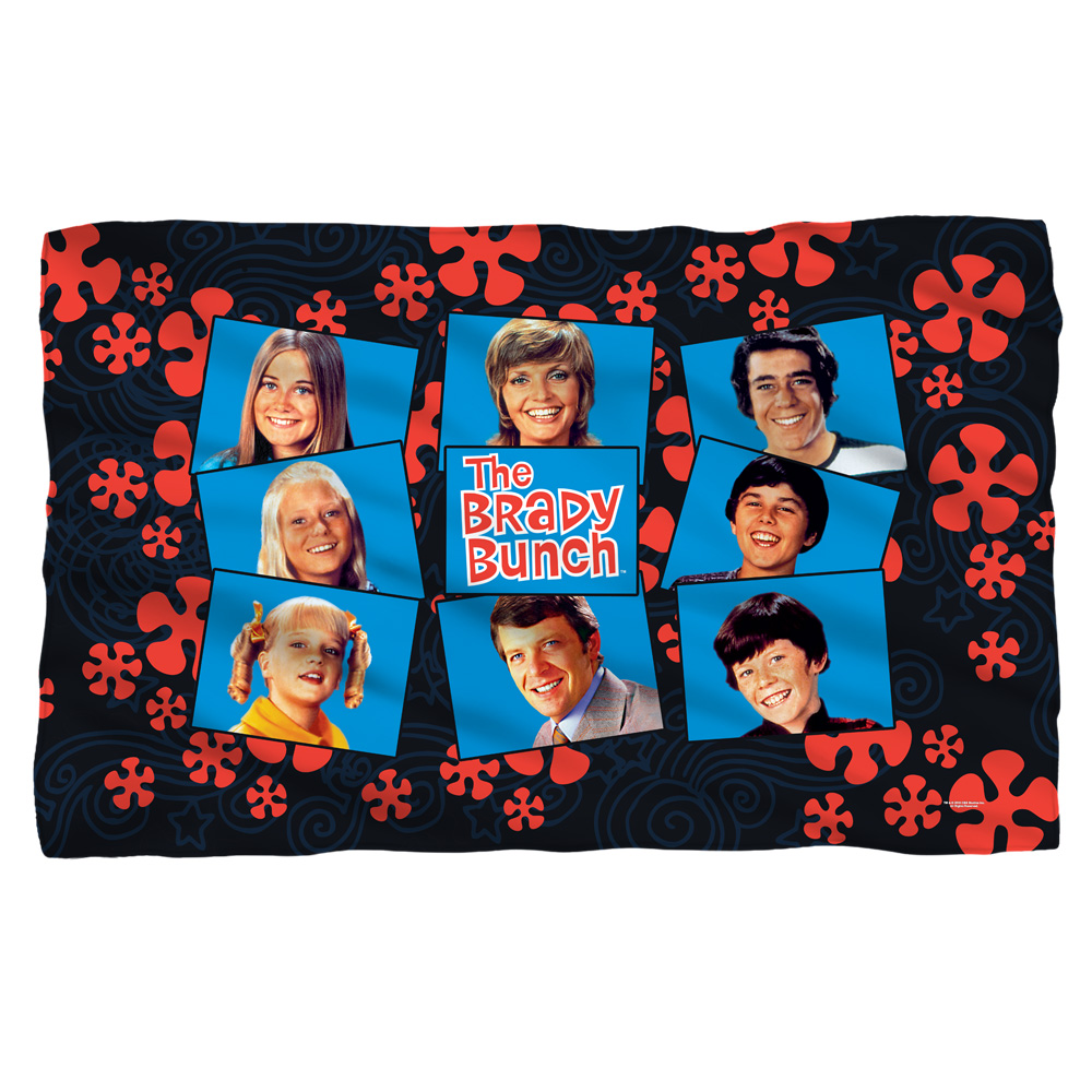 Brady Bunch Squares Fleece Blanket White 48X80