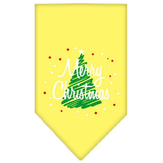 Scribble Merry Christmas Screen Print Bandana Grey Large