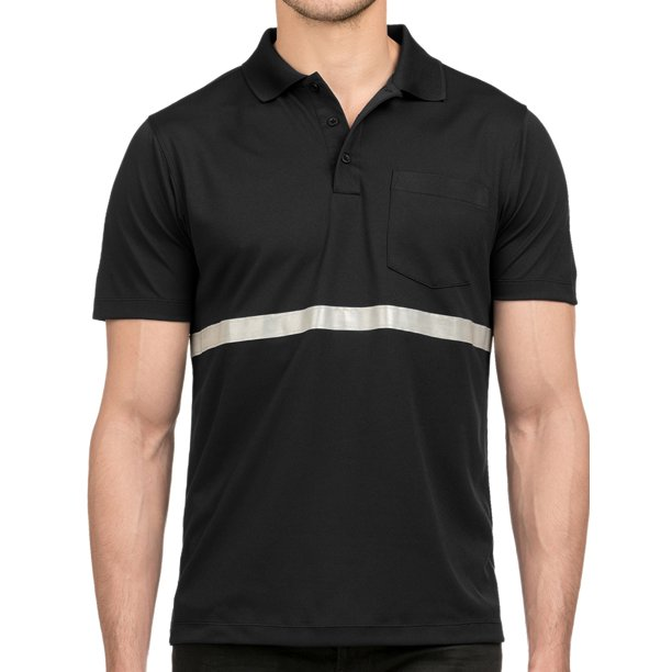 Mens Premium Reflective Stripe Safety Polo Shirt - Black, 3XL