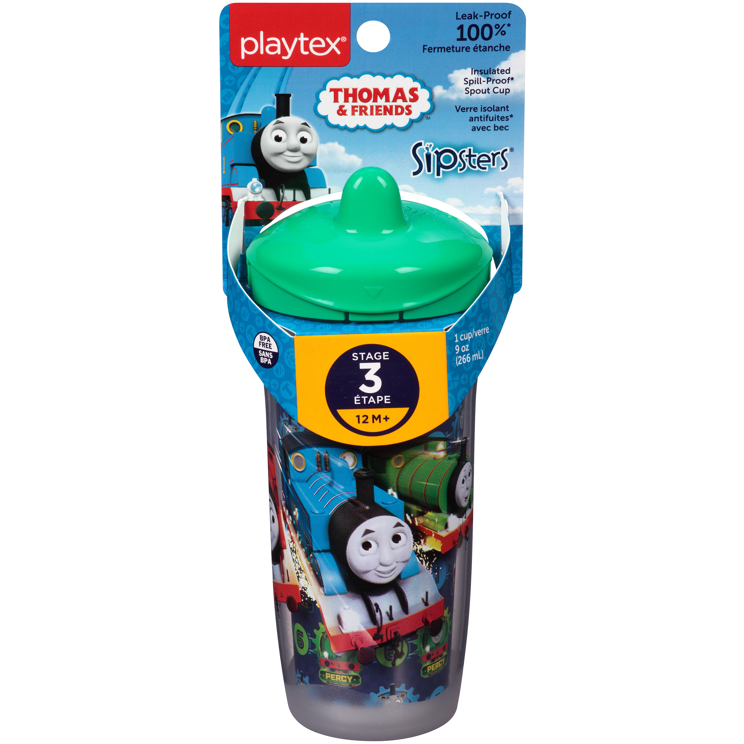 Playtex Sipsters Thomas & Friends Stage 3 Insulated Spout Sippy Cup 9oz 1-Pack Assorted Patterns