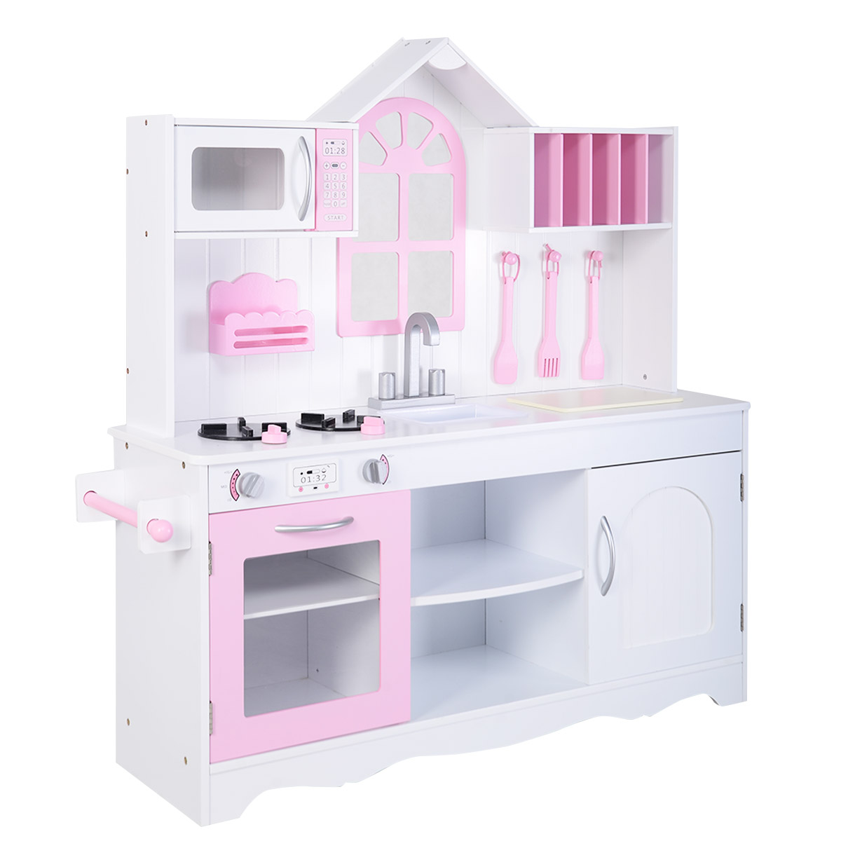 Costway Kids Wood Kitchen Toy Cooking Pretend Play Set Toddler Wooden Playset