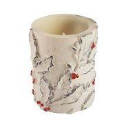 """4"""" Holly Leaf and Berry Battery Operated Flameless LED Color Changing Wax Christmas Pillar Candle"""
