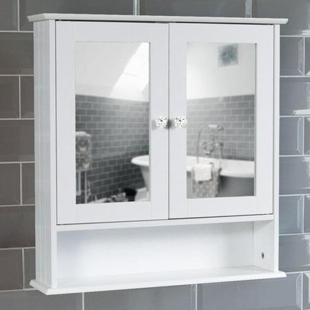 FCH Storage Cabinet Double Door Mirror Indoor Bathroom Wall Mounted Cabinet Shelf White ()
