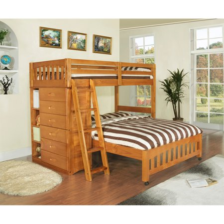 American Furniture Classics Model 2105-TFH, Solid Pine Twin Over Full Loft Bed with Six Drawers in Honey
