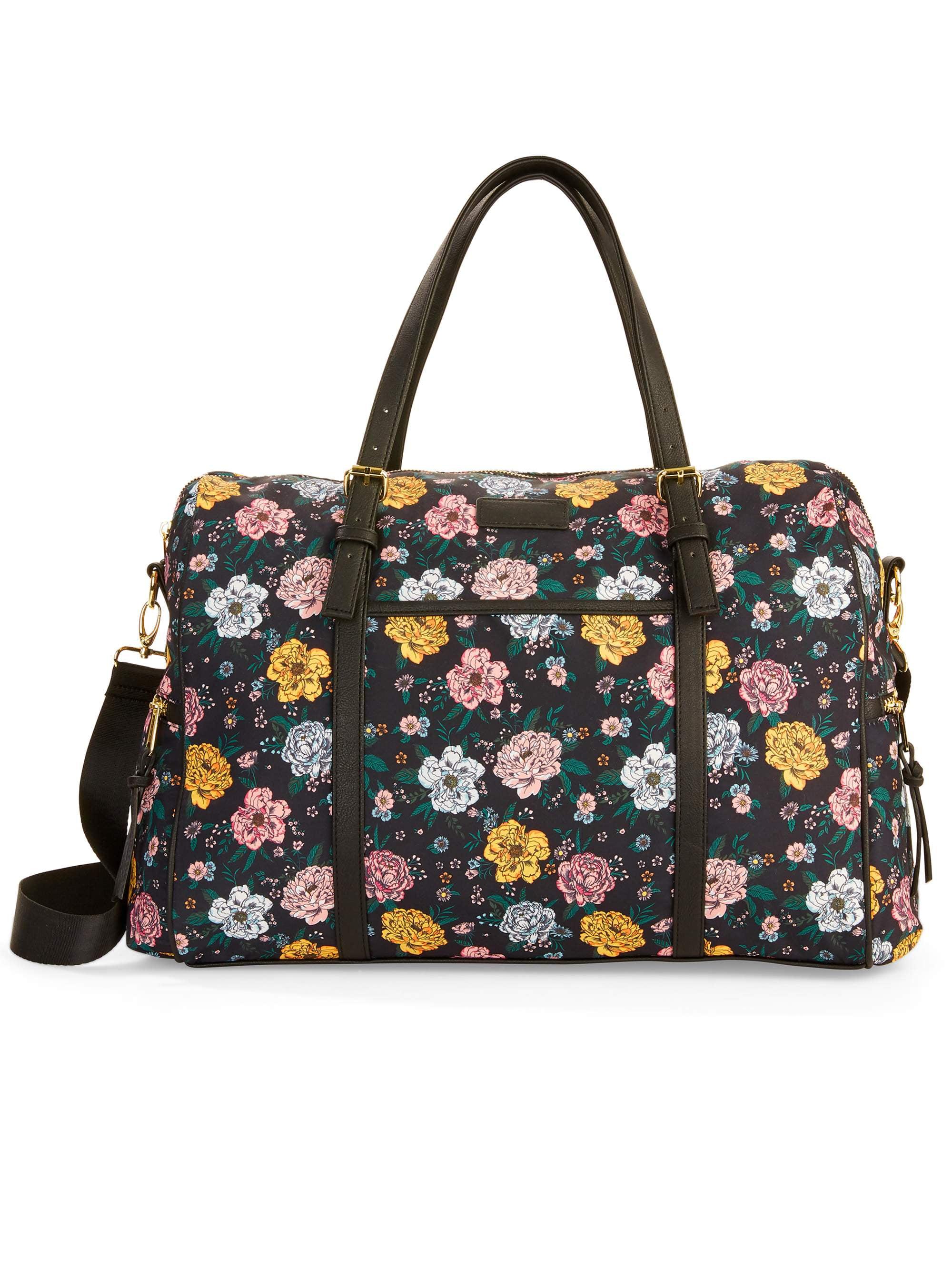 No Boundaries Black Floral Weekender Bag