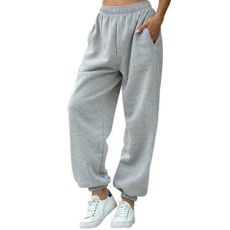 Winter Warm High Waist Casual Loose Trouser Pants For Women Thicken Jogger Pockets Sweatpants Cargo Pants Ladies Warm Baggy Harem Trousers