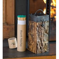 Recycled Wood Fireplace Match Holder with Matches & Fire Starter