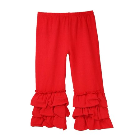 Girls Red Triple Tier Ruffle Cuffed Cotton Spandex Pants - Young Girls Spandex