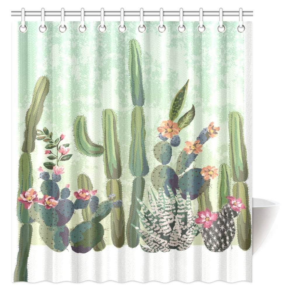 Green Succulents Flowers Shower Curtain Liner Waterproof Fabric Bathroom Mat Set