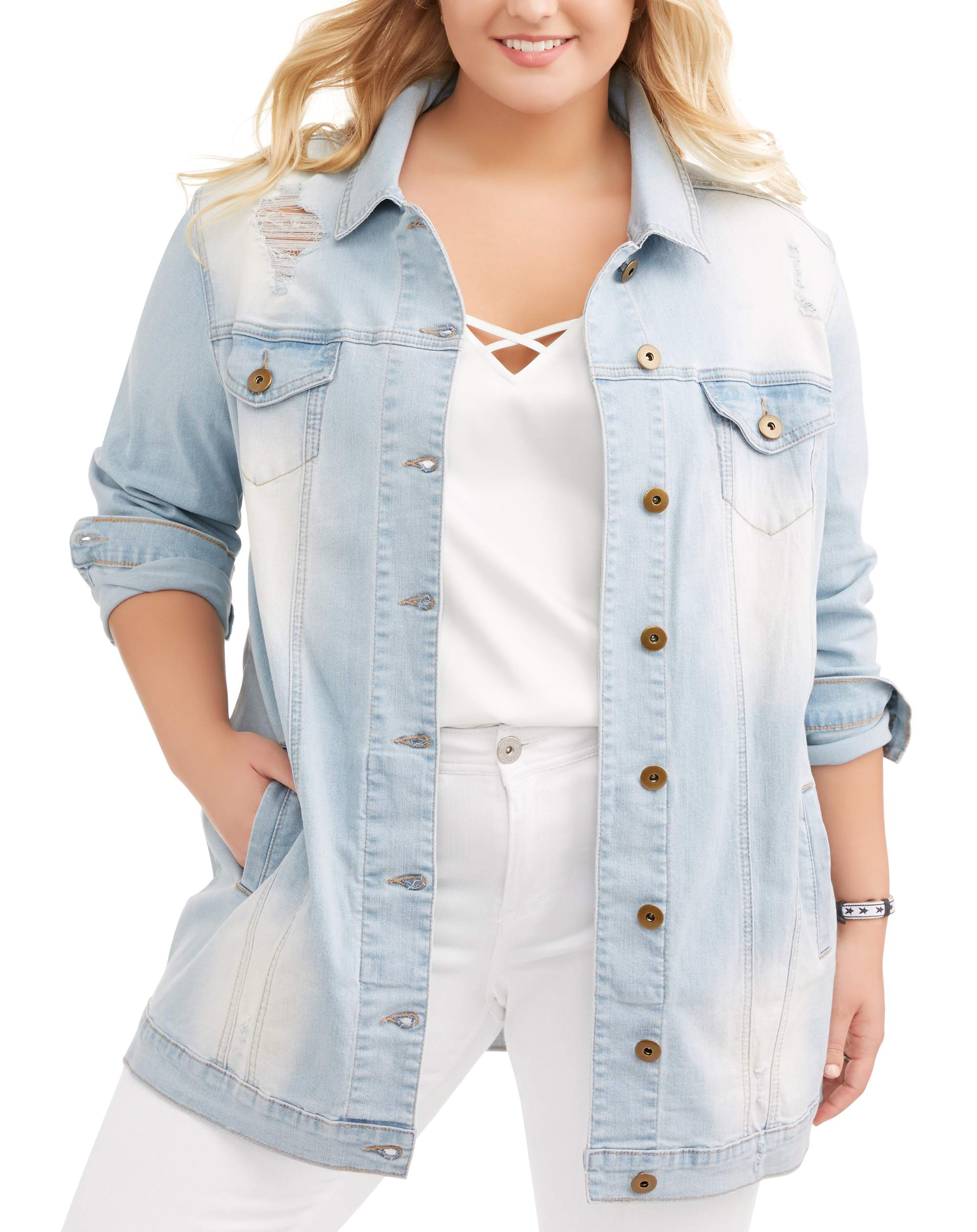 Juniors' Plus Size Oversized Long Distressed Denim Jacket