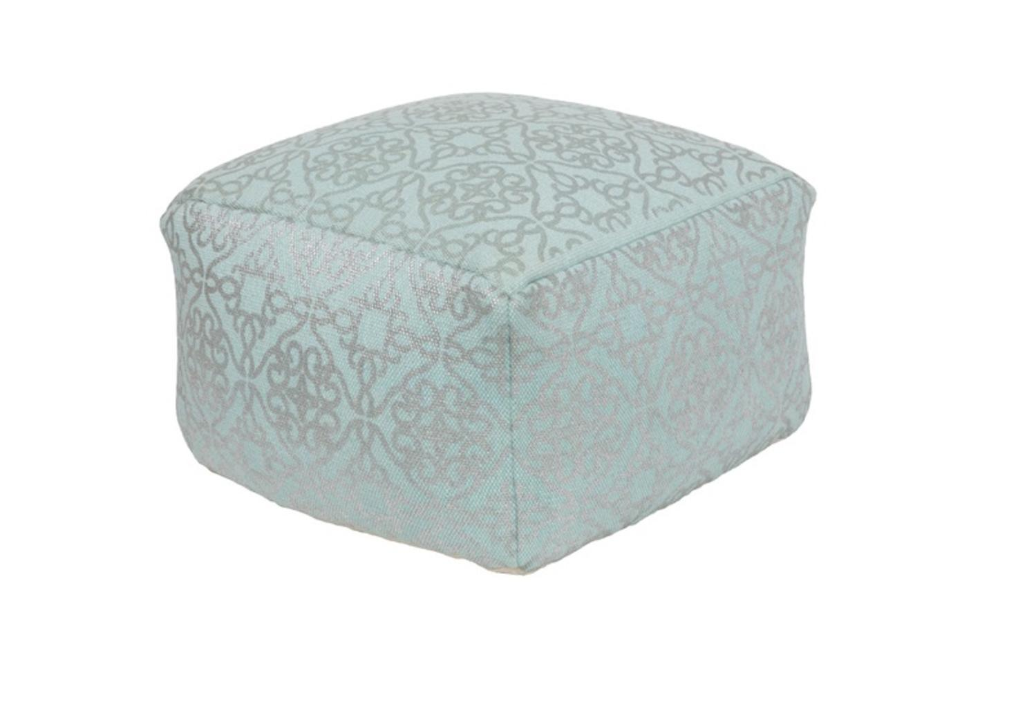 "20""Aqua Blue and Metallic Gray Upholstered Woven Foot Stool Ottoman by Diva At Home"
