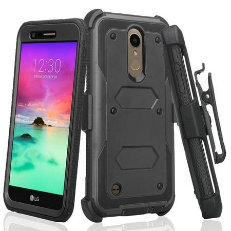 LG K30 Case (X410), LG Premier Pro LTE Case, LG K10 2018 Case with Belt  Clip (MS425) [Shock Proof] Heavy Duty Holster, Full Body Coverage [Built in
