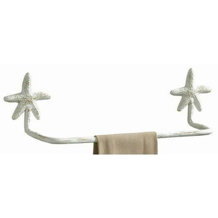 Park Designs Nautical Starfish Wall Towel Bar 16 Inch Bath Kitchen Metal White