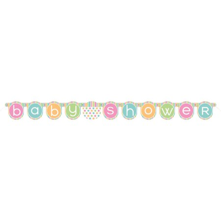 Pastel Baby Shower Banner, 4.5 ft, - Owl Baby Shower Banner