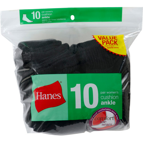 Hanes Ladies Ankle Socks 10 Pack, Black, Size 5-9