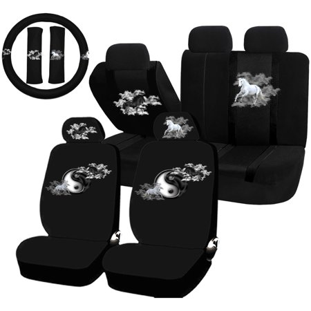 Incredible 22Pc Light Dark Horses Yin Yang Seat Covers Steering Wheel Set Universal Car Truck Suv Alphanode Cool Chair Designs And Ideas Alphanodeonline