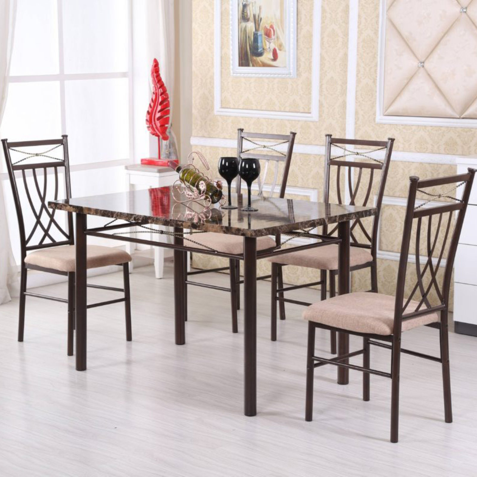 Hodedah Imports 5 Piece Dining Table Set
