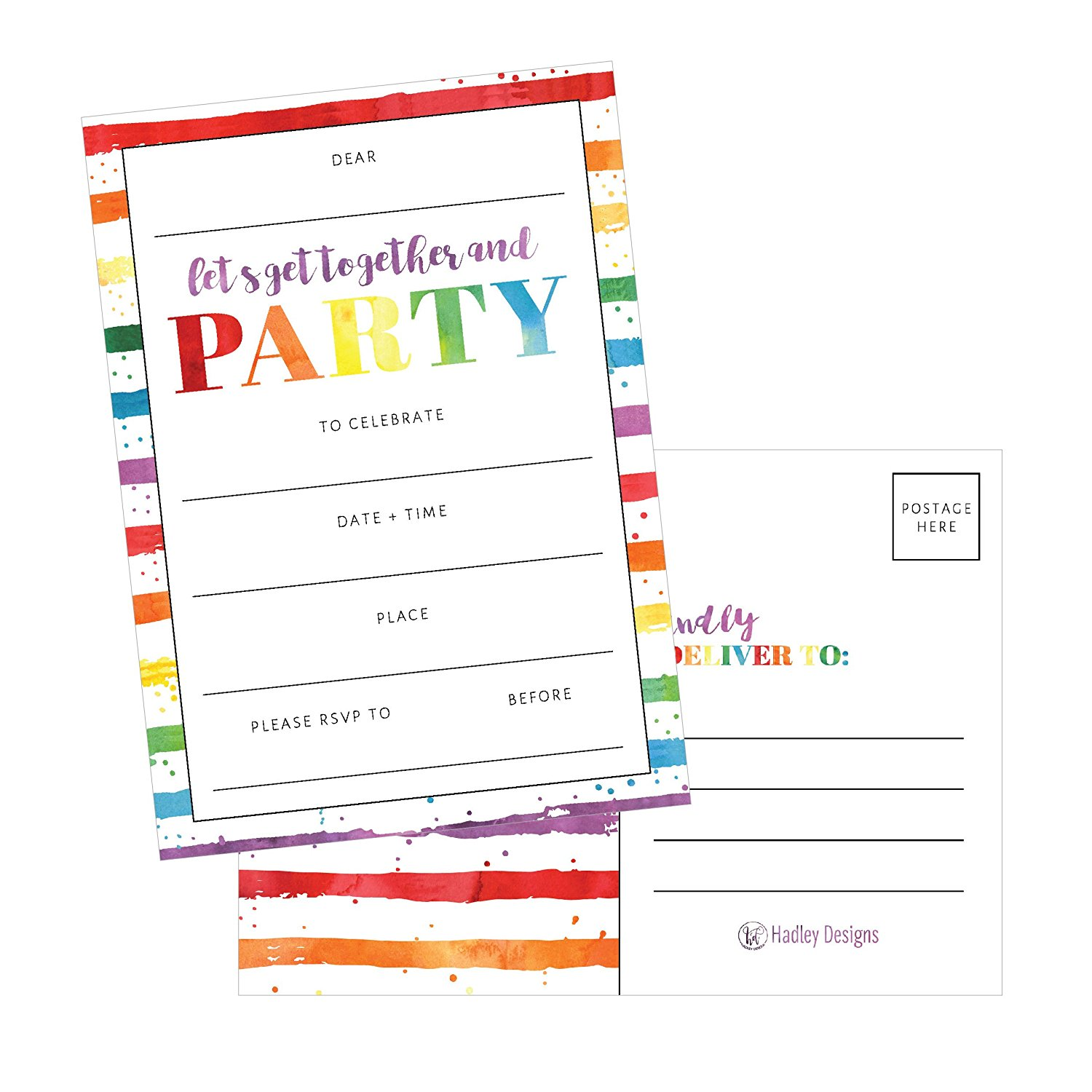 25 Art Stripe Rainbow Party Invitations For Kids Teens Adults