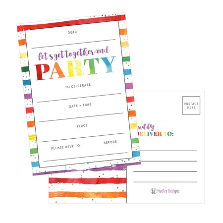 Party Invitations For Kids Teens Adults Boys Girls Blank Children Happy 1st Birthday Invitation Cards Unique Baby First Bday Invites Toddler 1 2
