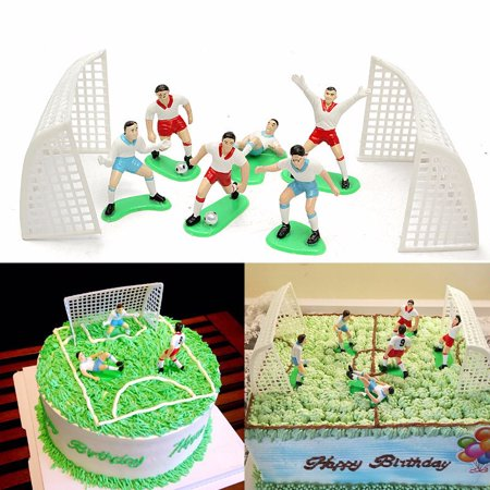 Cake Decorating Supplies ,8PCS Soccer Football Cake Topper Player Decoration Tool Birthday Mold Mould Set (Mini Soccer Cake Topper)