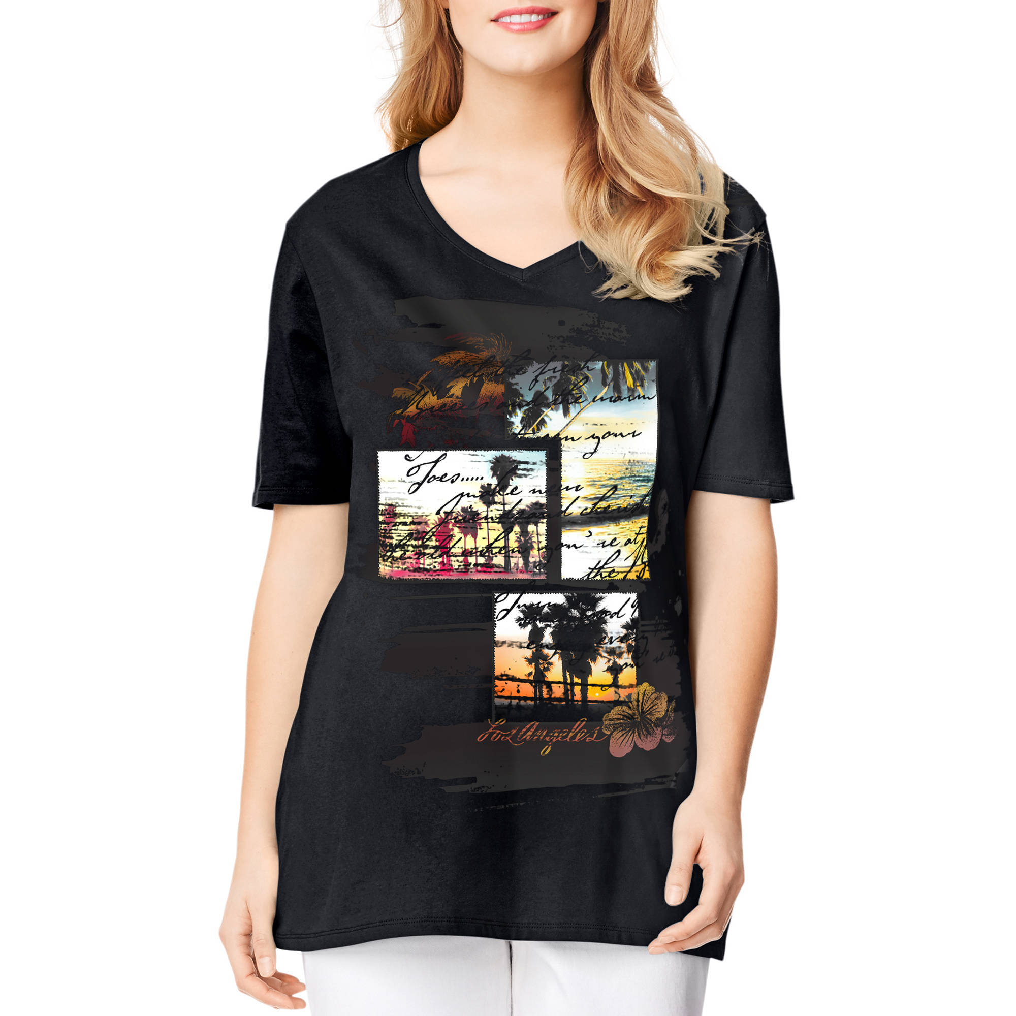 Just My Size Plus-Size Women's Lightweight Graphic V-neck