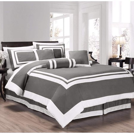 - Chezmoi Collection Caprice 7-Piece Square Pattern Hotel Style Bedding Comforter Set