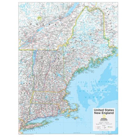 2014 New England US - National Geographic Atlas of the World, 10th Edition Education Map Poster Wall Art By National Geographic Maps