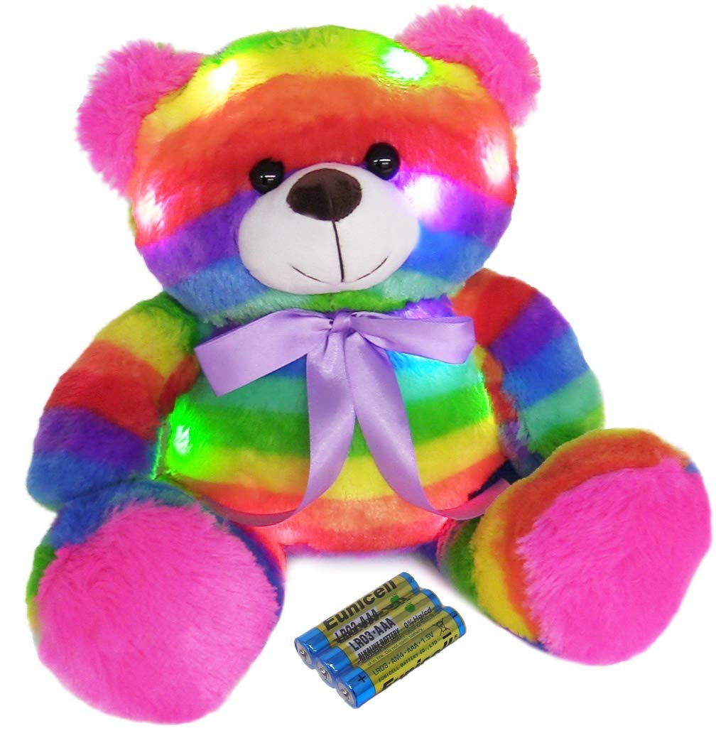 """The Noodley 14"""" LED Light Up Rainbow Teddy Bear with Timer Colorful Stuffed Animal Night Light Kids Gift... by The Noodley"""