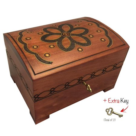 Polish Handmade Floral Wooden Chest Box  w/ Lock and Key Flower Jewelry Keepsake Box