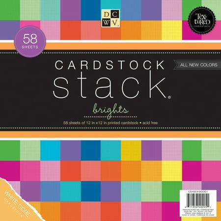 Cardstock Stack 12x12 58/Pkg-Bright Texture Solids W/White Core