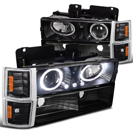 Spec-D Tuning For 1994-1998 Chevy Chevrolet C10 Ck Tahoe Silverado Halo Led Black Projector Headlights + Corner Lights Bumper (Left+Right) 1994 1995 1996 1997 -
