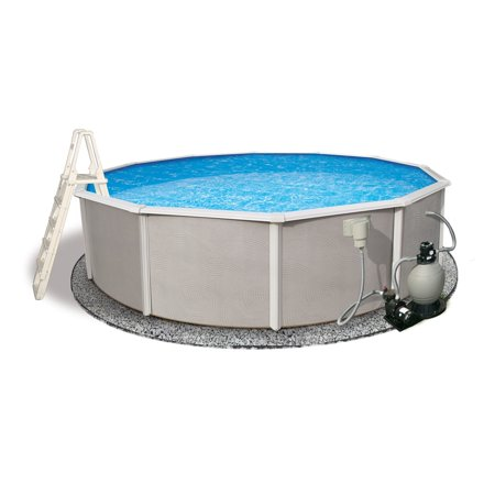 Blue wave belize round 48 inch deep 6 inch top rail metal for Cheap above ground pool packages