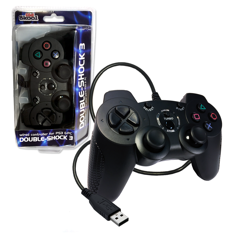 PS3 Wired DOUBLE-SHOCK 3 Controller for Playstation 3 by Old Skool