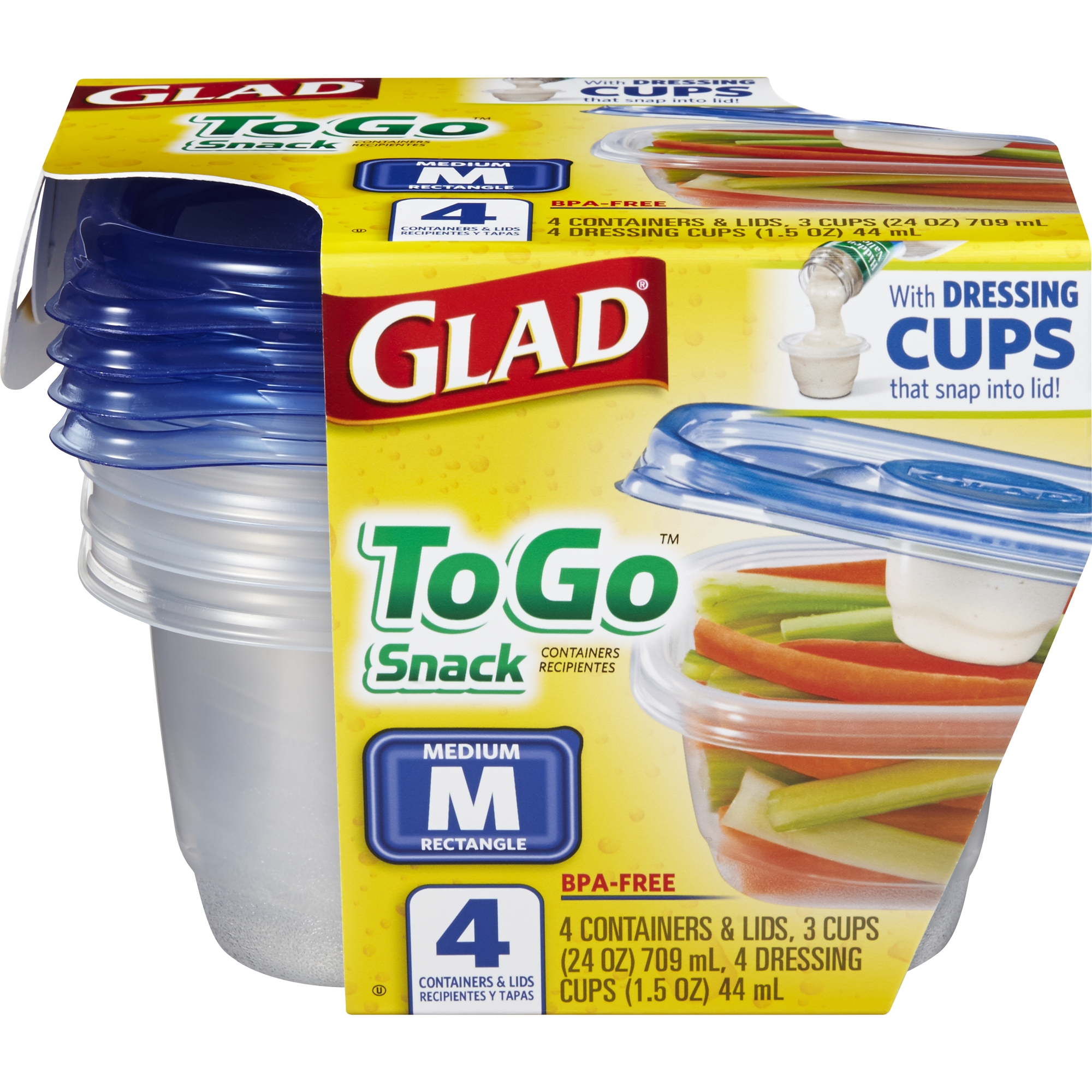 Glad Food Storage Containers - To Go Snack Container - 24 oz - 4 Containers