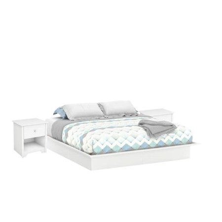 3 Piece Bedroom Set with King Platform Bed and (Set of 2) Nightstands in  Pure White