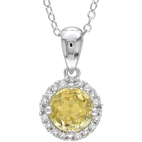 """3/4 Carat T.G.W. Round-Cut Citrine and Diamond Accent Sterling Silver Fashion Pendant, 18"""""""