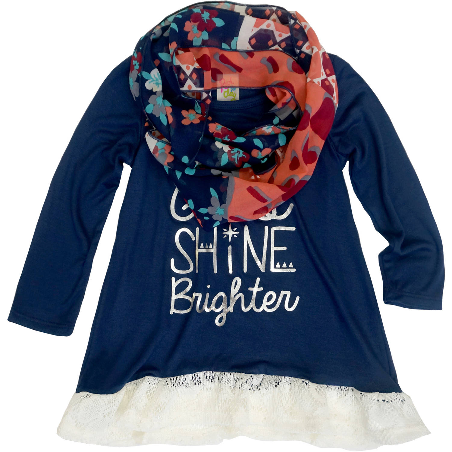 Rock & Clay Toddler Girl Shine Brighter Tee with Scarf