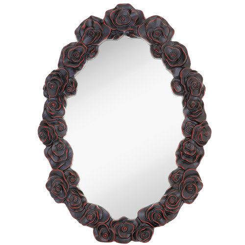Majestic Mirror Black with Red Highlights Molded Rose Oval Mirror
