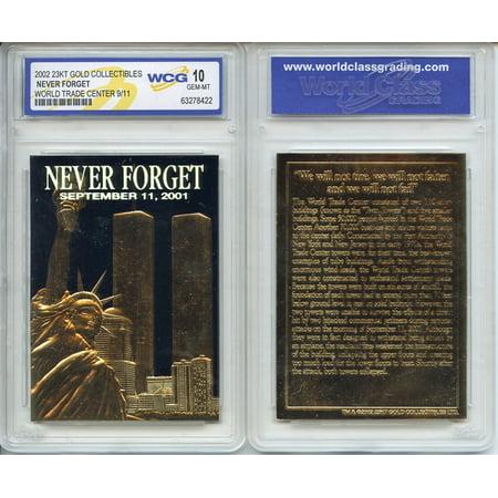 Trade Card Hoods (WORLD TRADE CENTER 9/11 First Anniversary 2002 Gold Card - Graded GEM MINT 10)