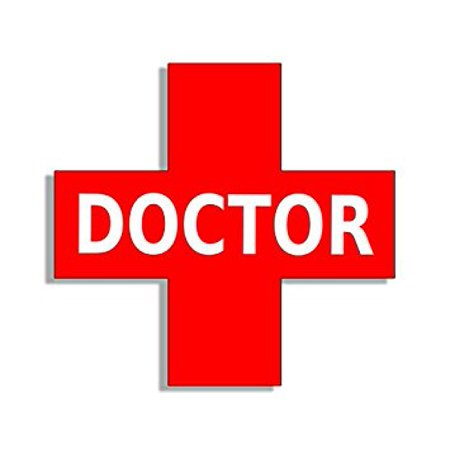 DOCTOR in Red Cross Shaped Sticker Decal (medical medicine aid rx) 3 x 4 inch