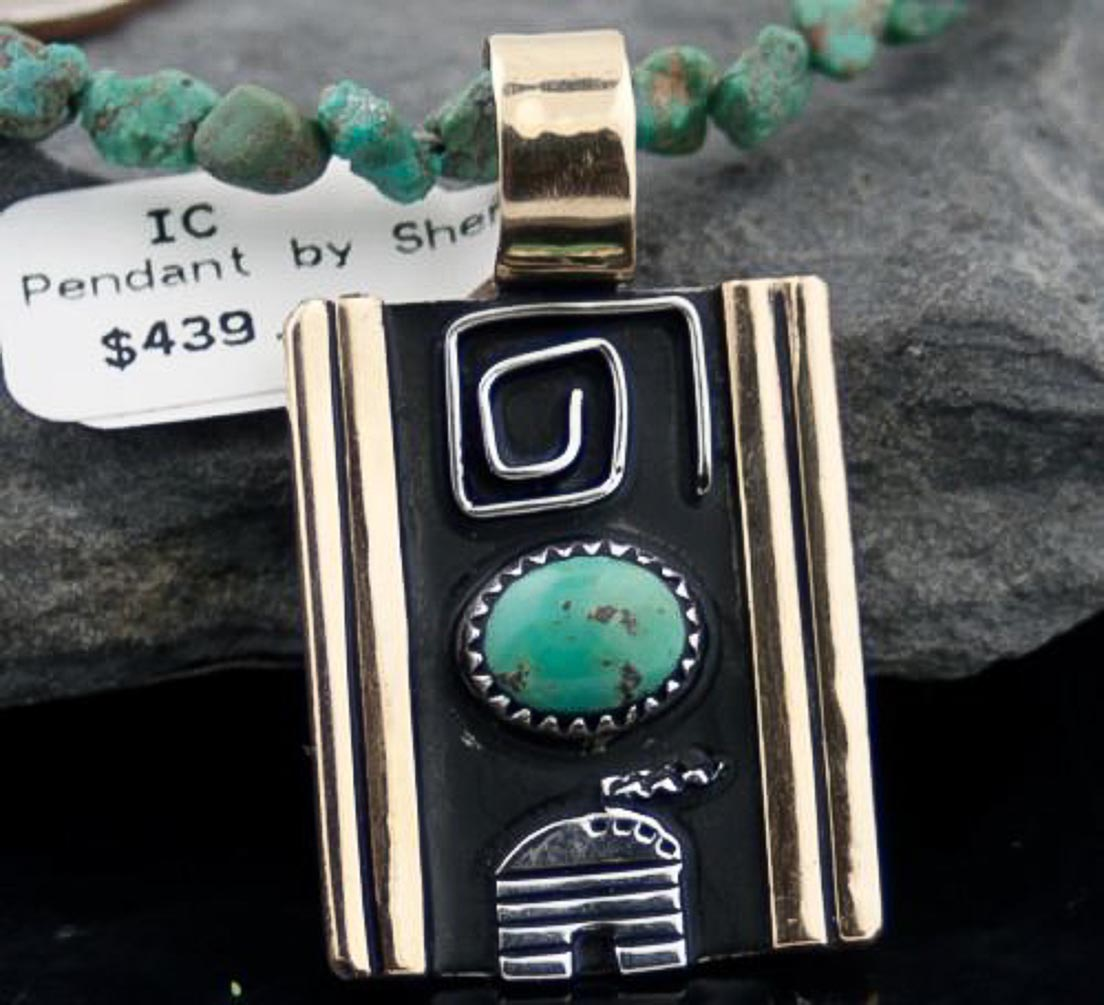 Handmade HoganAuthentic Shenan Begay Navajo .925 Sterling Silver and 12kt Gold Filled Turquoise 6 Native American... by