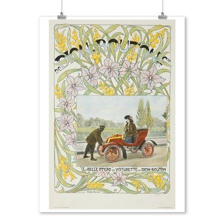 La Belle Otero en Voiturette de Dion - Bouton Vintage Poster (artist: Herbinier) France (9x12 Art Print, Wall Decor Travel - La Date D'halloween En France